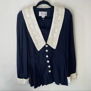 VINTAGE Sarah Elizabeth Blue Beaded Collar Blouse
